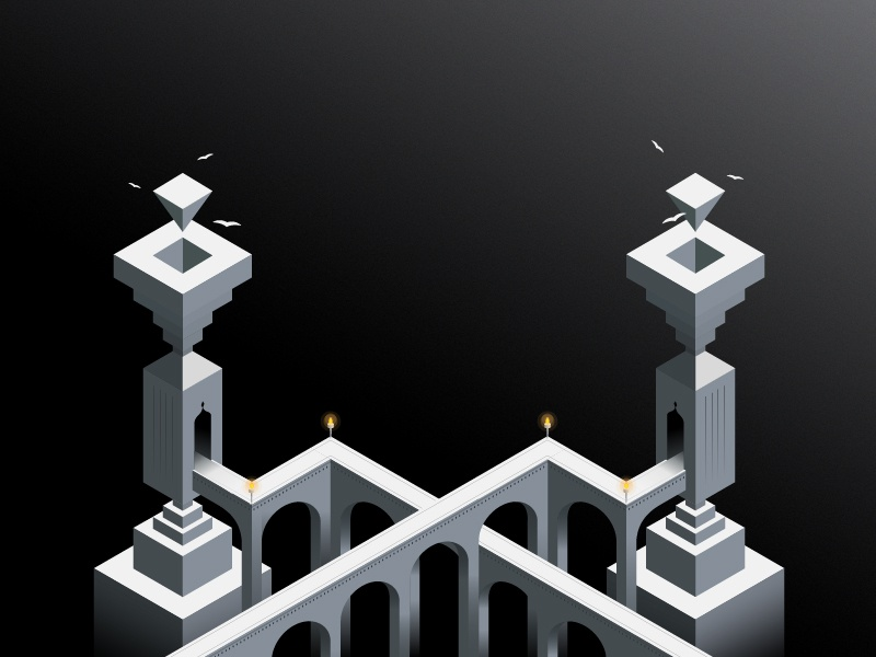 Lonely Towers geometric app symmetry game monument valley design 3d illustration