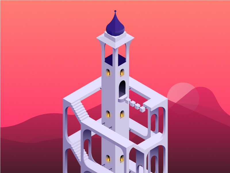 The tower of forgotten dreams geometric app symmetry game monument valley design 3d illustration