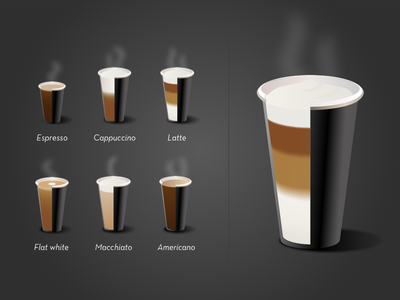 Coffee icons icon illustration cup black macchiato latte cappuccino espresso coffee