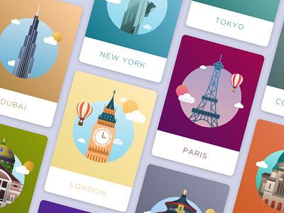 World city icons collections london paris world glyph graphic design design vector illustration city icon
