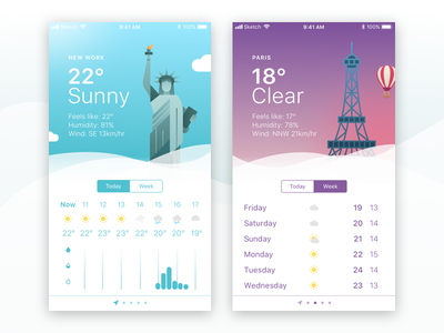 Weather App Shot icon building challenge ux ios new york paris dailyui app weather ui
