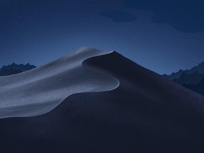 Mojave Background background apple mac osx darkmode night sand landscape mountain ipad mojave illustration