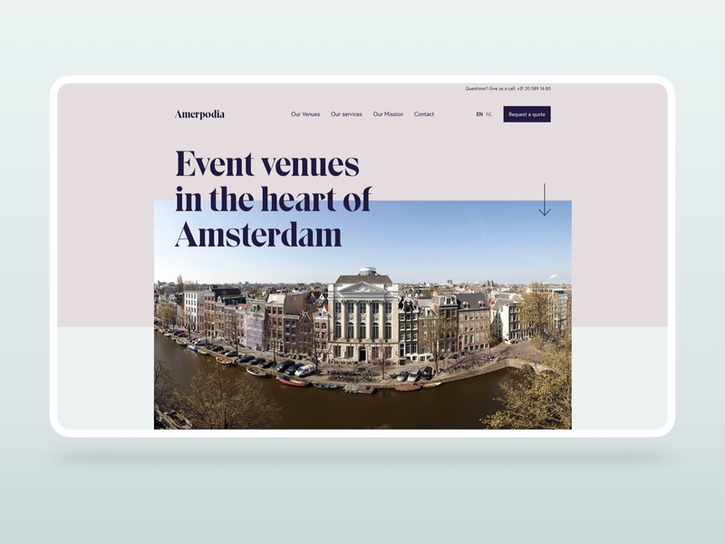 Amerpodia Homepage interface events venue sketch amsterdam uidesign homepage homepage design ui design