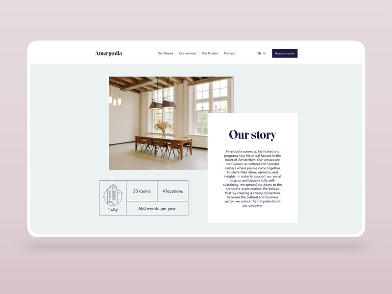 Amerpodia website agency venues homepage amsterdam website webdesign conference venue ux ui design