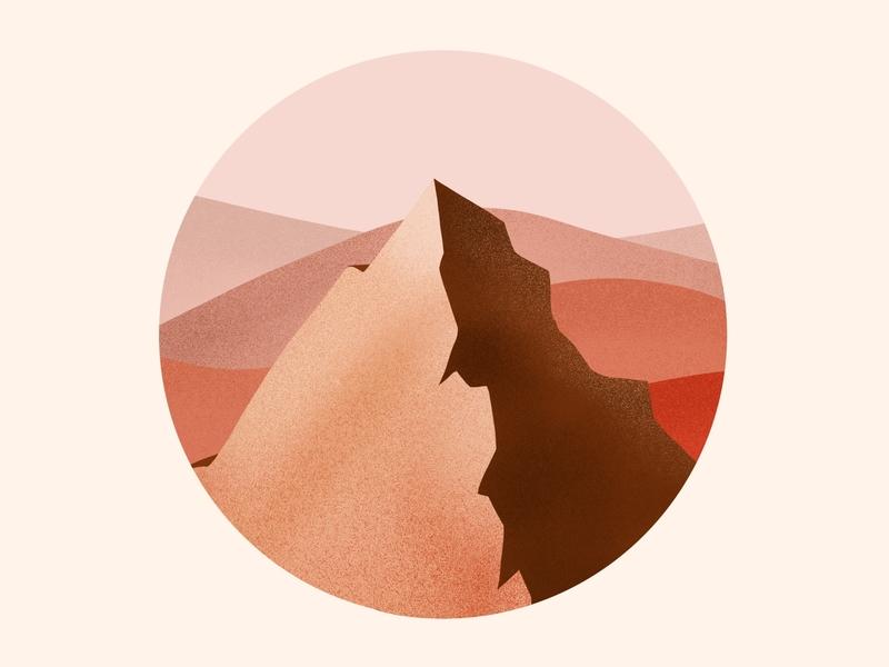 Mountain top procreate apple pencil drawing top sunset desert usa mountain design illustration