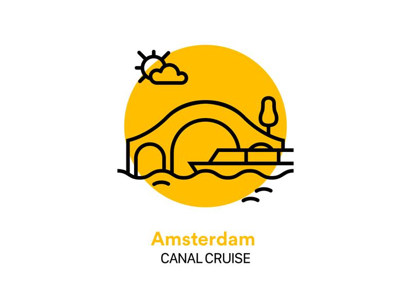 Amsterdam Canal Cruise Icon water bridge interface ui glyph boat amsterdam cruise canal icon vector illustration design