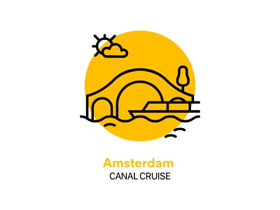 Amsterdam Canal Cruise Icon water bridge interface ui glyph boat amsterdam cruise canal icon vector illustration design