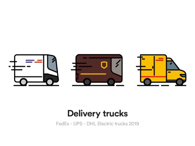 Delivery Trucks delivery service electric vehicle icon design iconography vector icon ecommerce ups dhl shipping trucks fedex delivery truck