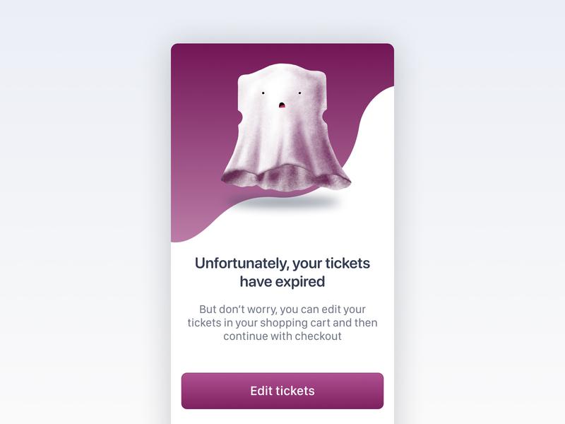 Expired tickets error screen mobile ui ios message procreate ghosts error message expired tiqets ticket alert design app ui illustration error