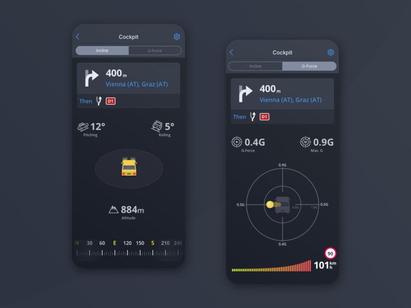 Cockpit add-on, incline and g-force slovakia gforce navigation gps uiux iphone ux design app