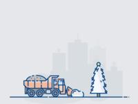 winter truck illustration