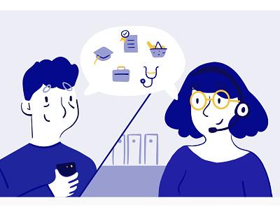 Solidarité numérique label school work doctor dyeos illustration voice talking call phone man woman character