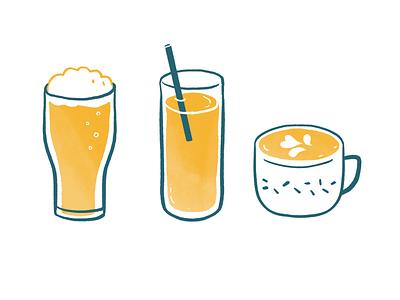 Hélou dyeos illustration helou cappucino tea juice beer coffee drink