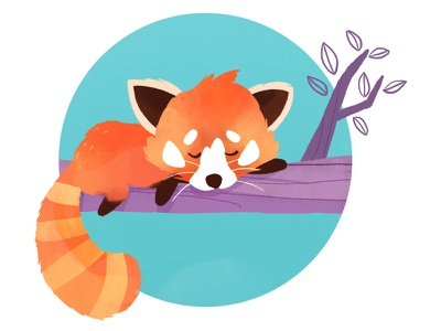 Made With Care - Red Panda character animal cute sleeping dyeos madewithcare red color illustration panda