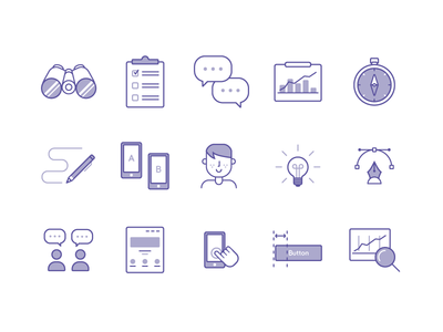 UX/UI icons analytics sketching interviews binocular guidelines compass survey set icon ui ux