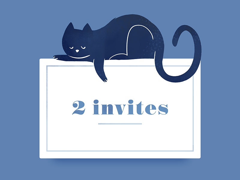 2 invites sarah lepreux dyeos invitation sleep illustration kat kitty dribbble invite