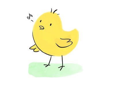Happy Easter! canary chicken chick easter illustration music bird yellow dyeos