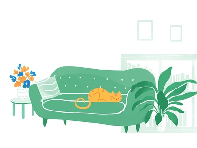 Pretto's homepage house dyeos flower quiet room living couch cat home illustration pretto