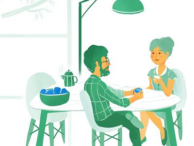Pretto's homepage pretto illustration home coffee breakfast dyeos kitchen couple house