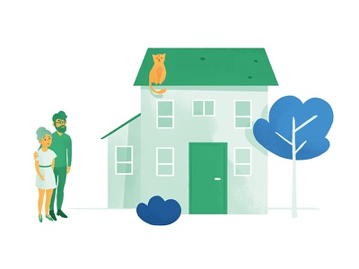 The house illustration home cat green dyeos couple house pretto