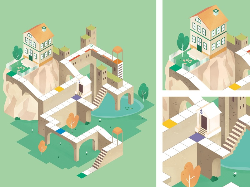Pretto - Monument Valley boardgame square way home game pretto tower monument monument valley labyrinth isometric illustration dyeos