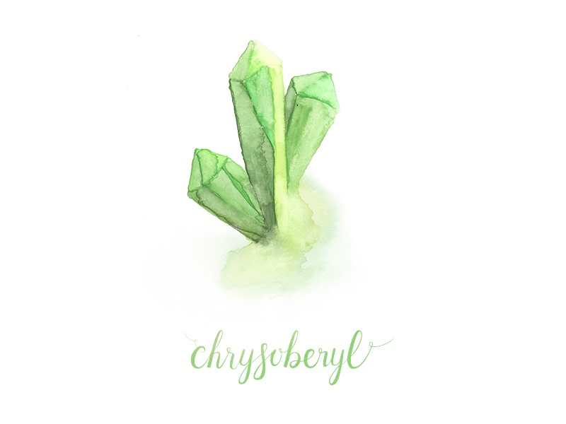 Chrysoberyl calligraphy hand lettering gemstones crystals watercolor