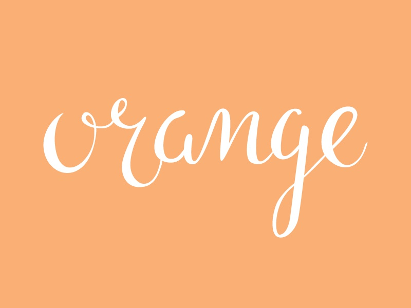 Orange calligraphy lettering hand type hand lettering