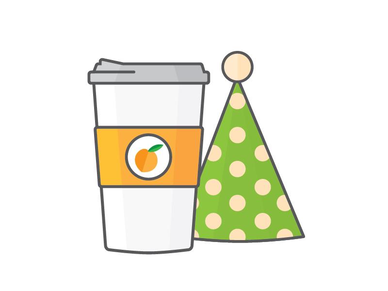 Coffee + Birthdays illustration coffee cup birthday party hat coffee