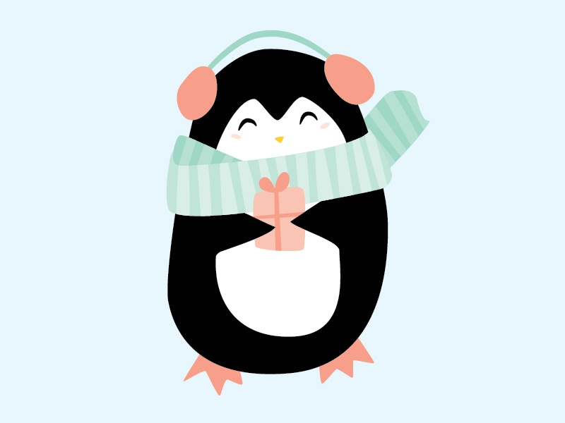 W.H. Penguin holiday winter vector illustration penguin