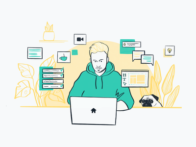 Remote work focus desk homeoffice remotework product character illustration