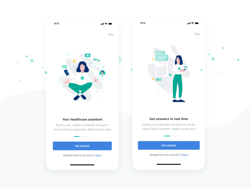 Onboarding illustrations - Docplanner Patient's App consultation assistant healthcare notification chat illustrator app product character vector illustration