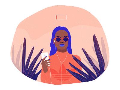 Illustration 3 iphone fashion leaf vector character woman illustration