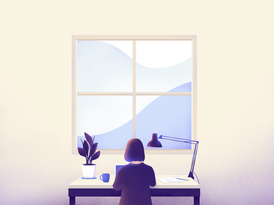 Window workspace desk scene vector product illustration
