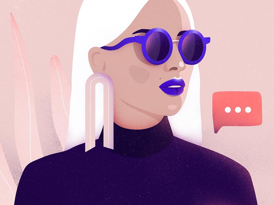November message elegant phone message business woman fashion vector character illustration
