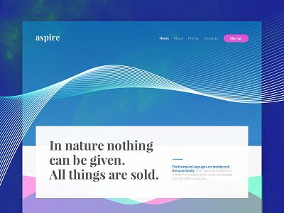 Aspire - Landing Page web ux ui page landing galaxy fluo design colorful