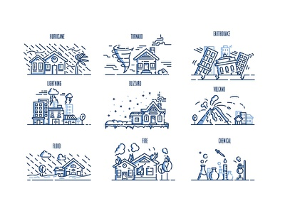 Emergency & Disaster Illustrations color stroke linework infograph stylized infographic disaster emergency illustration line debut