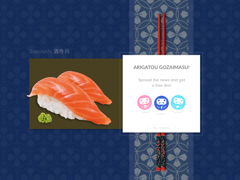 Daily UI 010 +  Ugliest Color in The World Challenge sushi japan social share daily ui 10