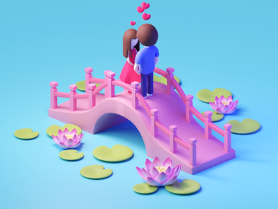 Valentine's Day isometric 3d illustration