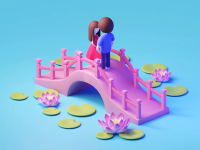 Valentine's Day illustration isometric 3d