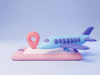 flight illustration 3d