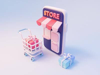 Illustration of e commerce01 gifts buy cart ecommerce design illustration 3d