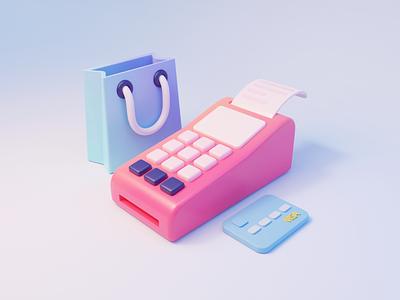 Illustration of e commerce02 bank card ecommerce illustration 3d
