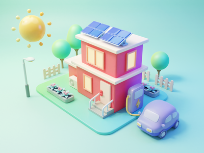 Solar Energy house charge car sun solar energy design illustration 3d