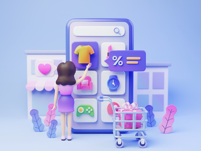 E-commerce startup presentation discount classification select buy cart ecommerce design illustration 3d