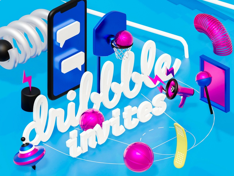 🎟 Invites 🎟 render eevee eevee render isometric 3d blender3d blender play hello dribbble invite dribbble