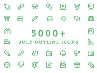 5000+ Bold Outline Icons Bundle