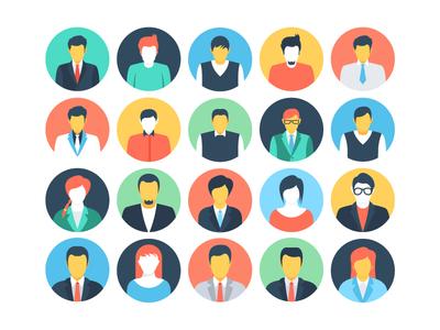 Flat People Avatars Icons designer developer team flat icon boy man girl facial icons faces people flat icons avatars
