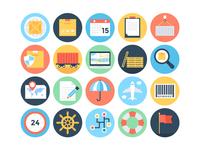 Flat Global Logistics Icons