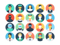 45 Flat Professions Vector Icons