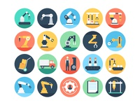 Flat Manufacturing And Production Icons